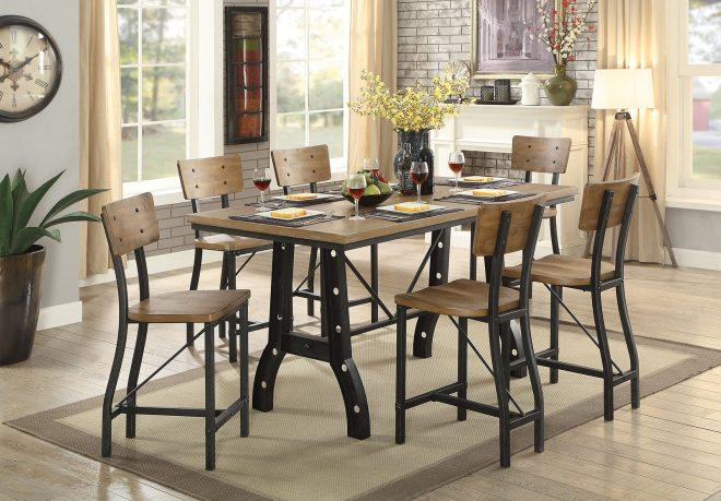 industrial style counter height dining table with chair options