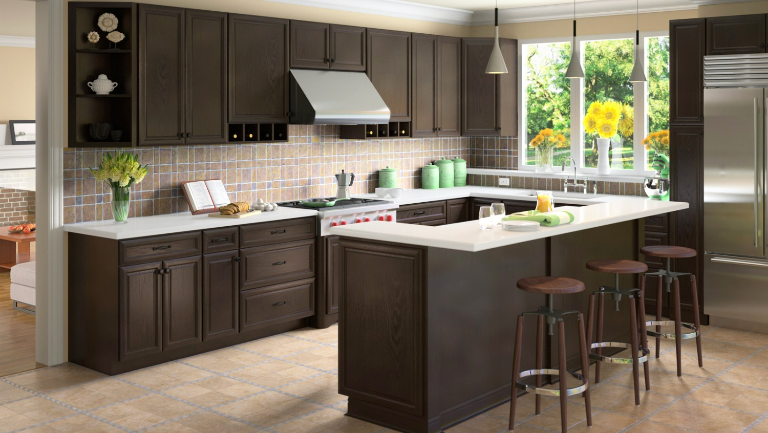 innovative ideas espresso kitchen cabinets with staining theme for