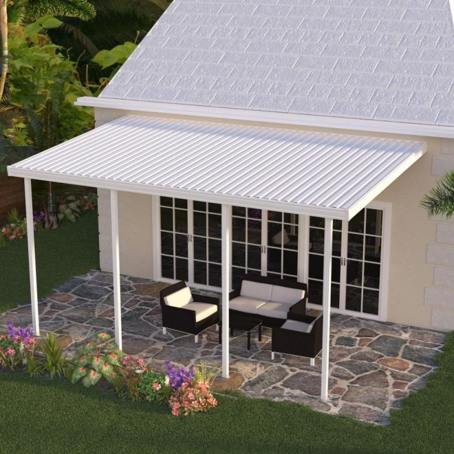 integra 18 ft x 10 ft white aluminum attached solid patio cover with 4 posts 20 lbs live load