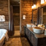 interesting idea for a bathroom using solid rustic wood and