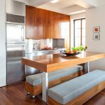 interior apartment kitchen decor with wooden cabinet and rectangle