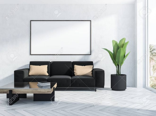 interior of living room with white walls white wooden floor