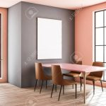interior of stylish dining room with peach and gray walls wooden