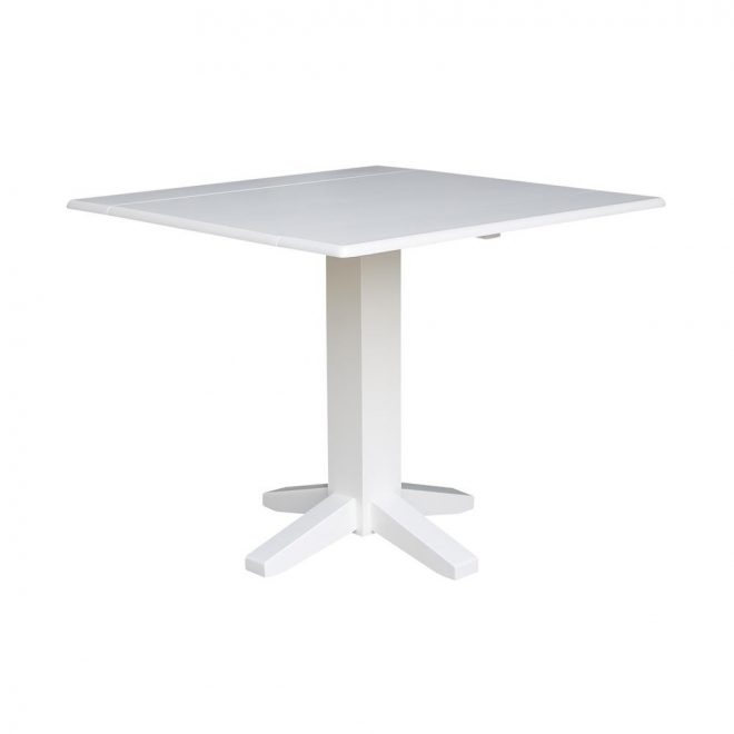 international concepts 36 in pure white square drop leaf dining
