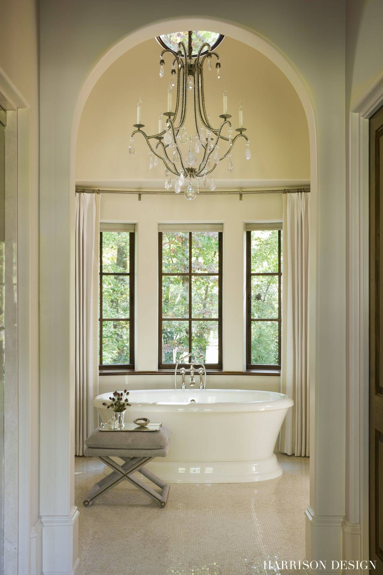 inviting soaking tub in this english country master bath harrison