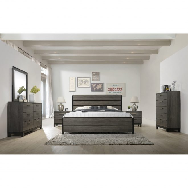 ioana 187 antique grey finish wood bed room set king size bed dresser mirror 2 night stands chest