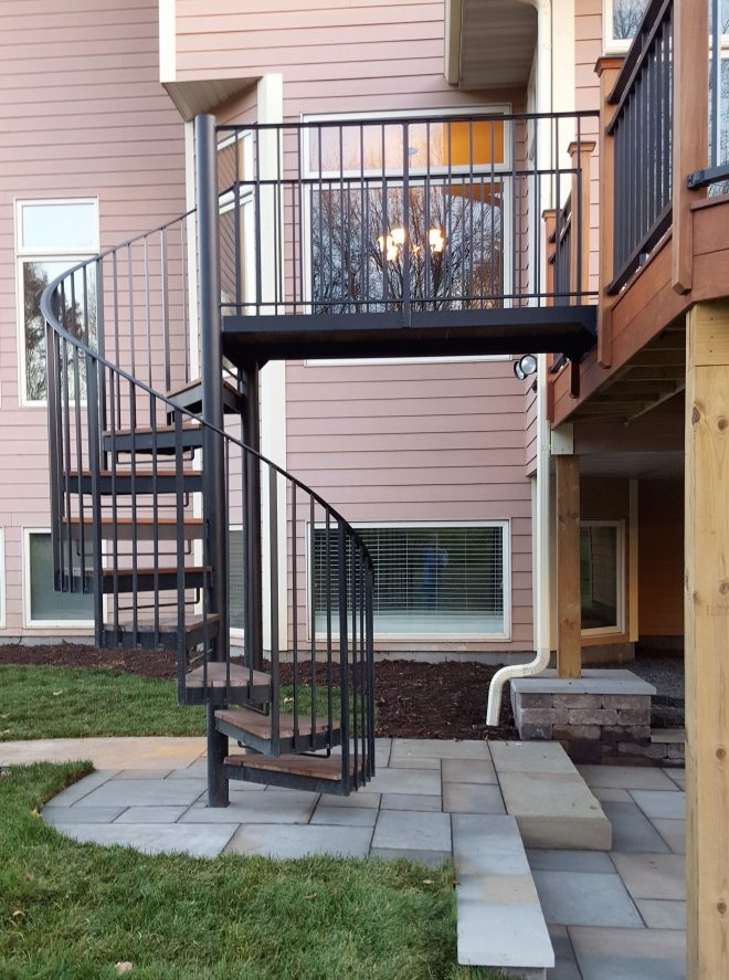 ipe deck with spiral staircase and patio ipe decks in 2019
