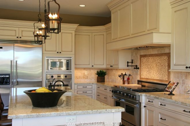 ivory kitchen cabinets and off white quartz counter tops