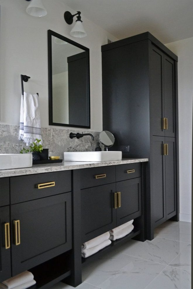 jaclyn peters design black and white bathroom cambria quartz