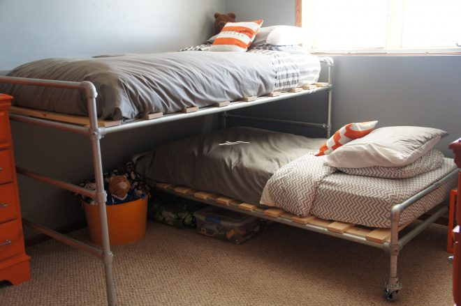 jett and sams finished pipe bed my husband is awesome for