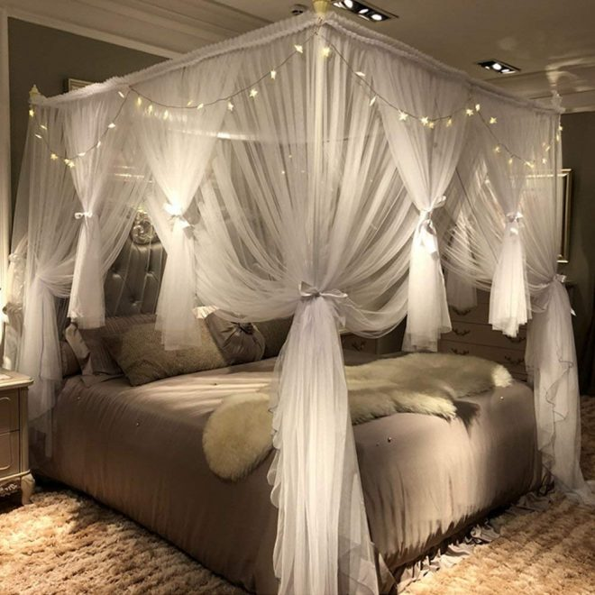 joyreap mosquito bed canopy net luxury canopy netting 4 corners post bed canopies princess style bedroom decoration for adults girls for
