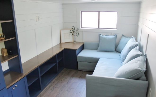 juniper tiny house living room from mustard seed tiny homes