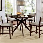 kaidence brown cherry round counter height dining room set