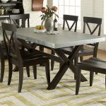 keaton ii rectangle trestle dining table with metal top