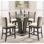 kecco gray 5 piece round glass top counter height dining set