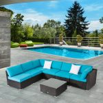 kinbor 7 piece patio furniture set all weather outdoor furniture sectional sofa w cushions