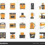 kitchen appliance simple flat icons vector set stock