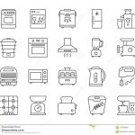 kitchen appliance simple line icons vector set stock vector