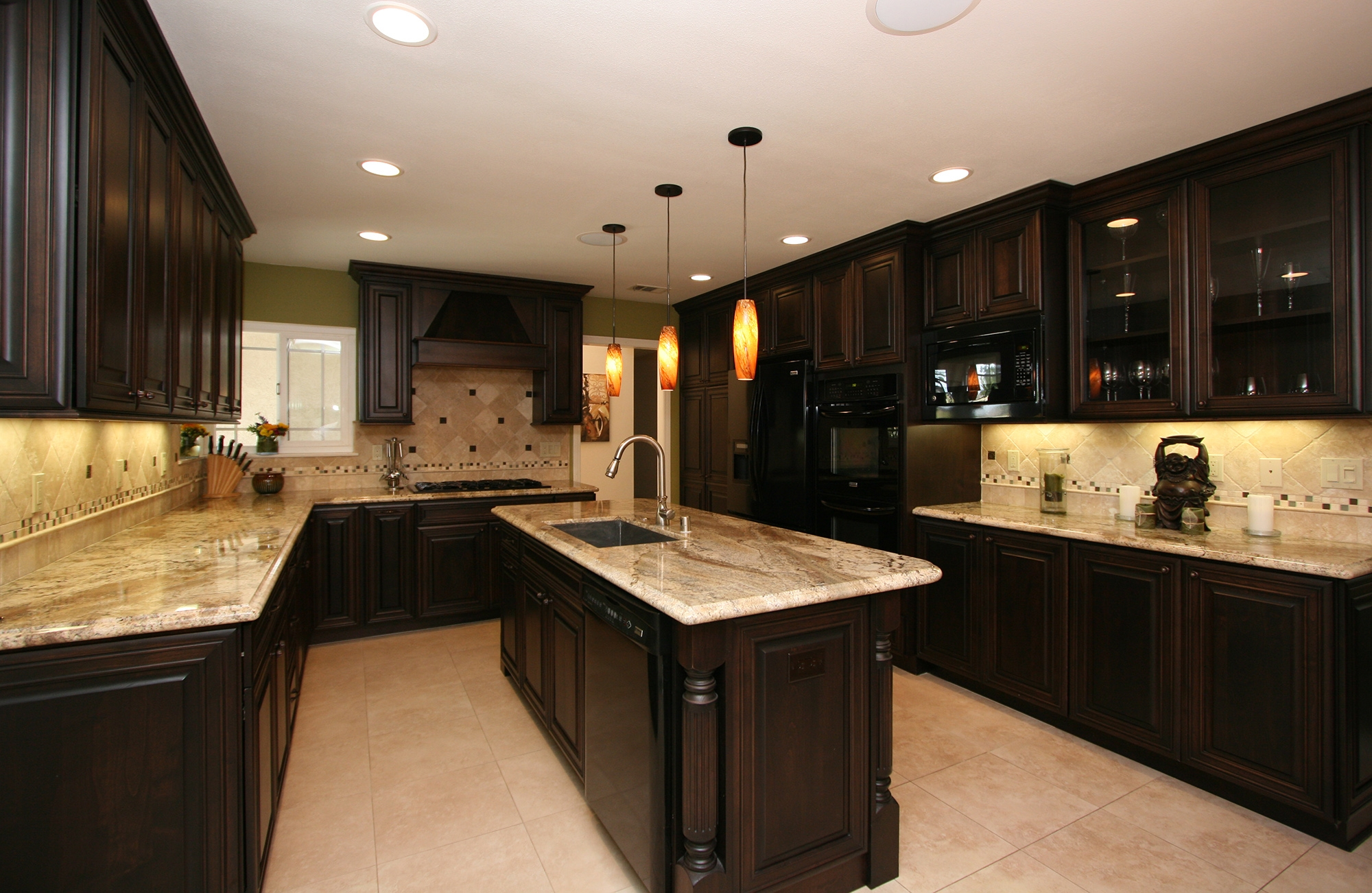 kitchen black cabinetry and island granite modern contemporary