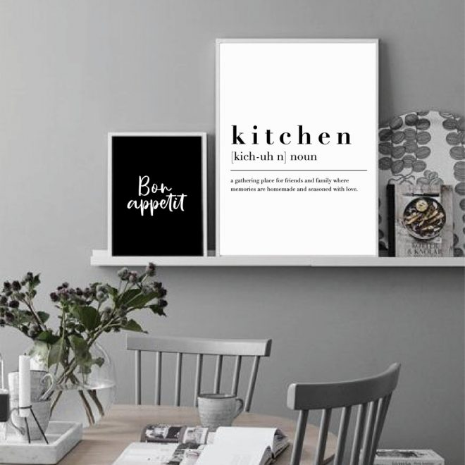 kitchen dining room wall art prints decorative pictures nordic black white posters bon appetit quotes wall art canvas paintings