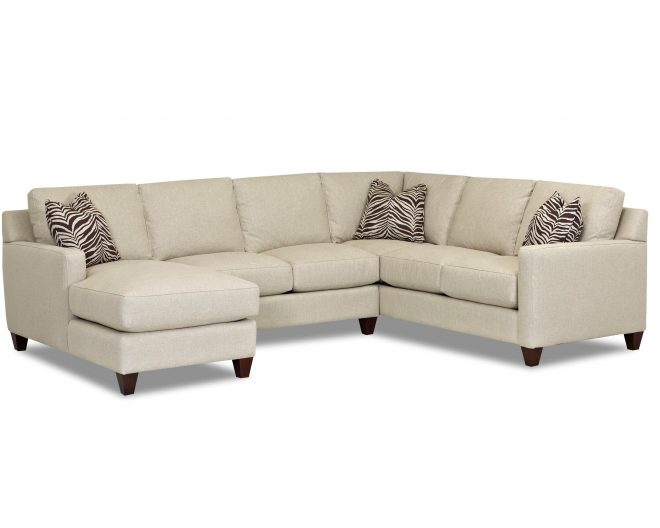 klaussner fuller contemporary stationary sectional with track arms