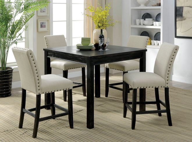 kristie rustic style antique black finish 5pc counter height dining table set w linen fabric chairs