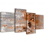 large burnt orange grey painting abstract bedroom canvas pictures decor 4415 130cm set of prints