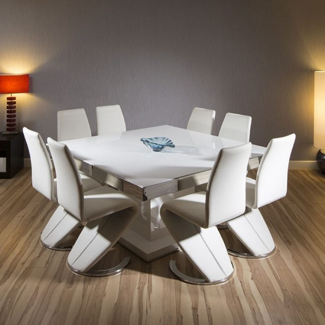 large square dining set white gloss table 8 high back white chairs 939