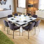 large square white glass gloss dining table 8 dark grey carver
