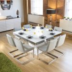 large square white glass gloss dining table 8 ice cantilever chairs