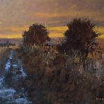 last light on the downs oil painting guy bailey