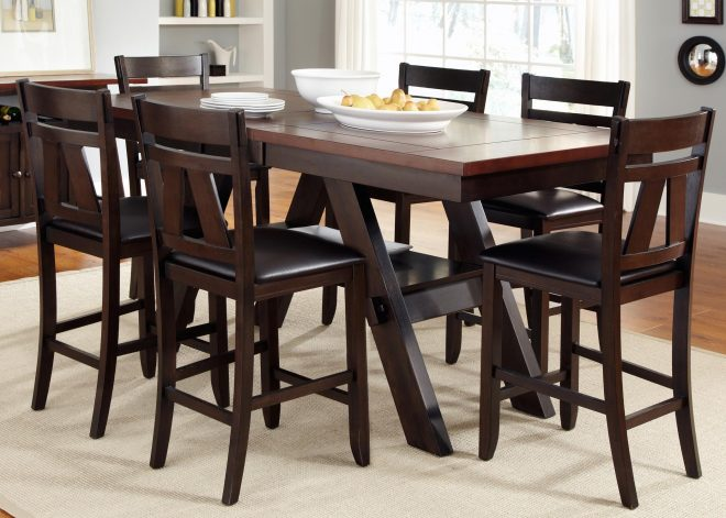 lawson 7 piece trestle gathering table with counter height chairs set vendor 5349 at becker furniture world