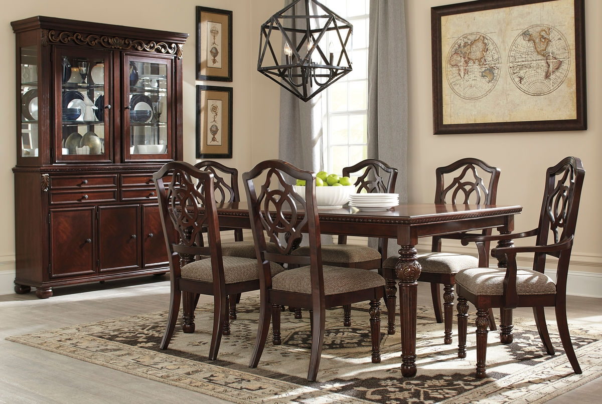 leahlyn 8 pc rect dining room ext table 4 side chairs 2 arm chairs china cabinet