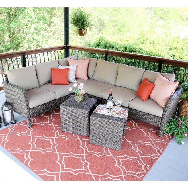 leisure made canton 6 piece wicker outdoor sectional with sunbrella cast ash cushions
