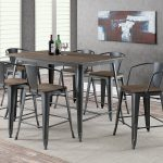 lela industrial style gray 7pc counter height dining table set w natural wood grain surface