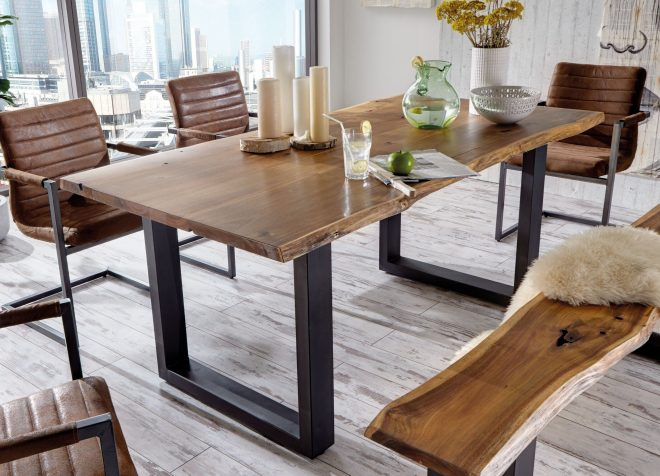 lemay modern live edge solid wood dining table