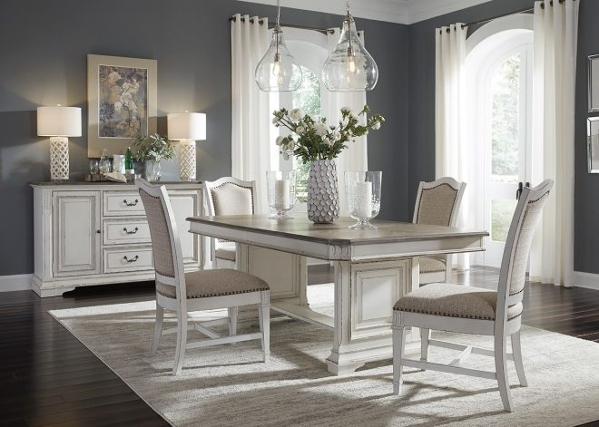 liberty furniture abbey park trestle dining set in antique white