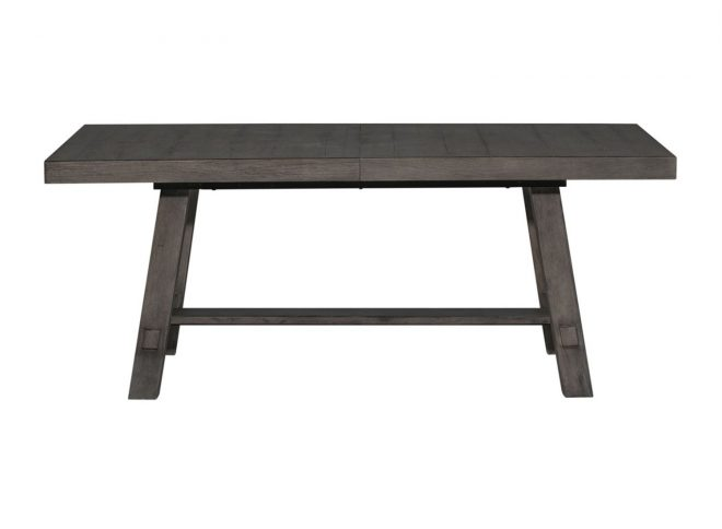 liberty furniture modern farmhouse trestle dining table in dusty charcoal
