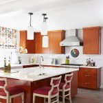 light and bright transitional kitchen with large island in