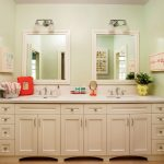 light green walls bathroom transitional with double vanity