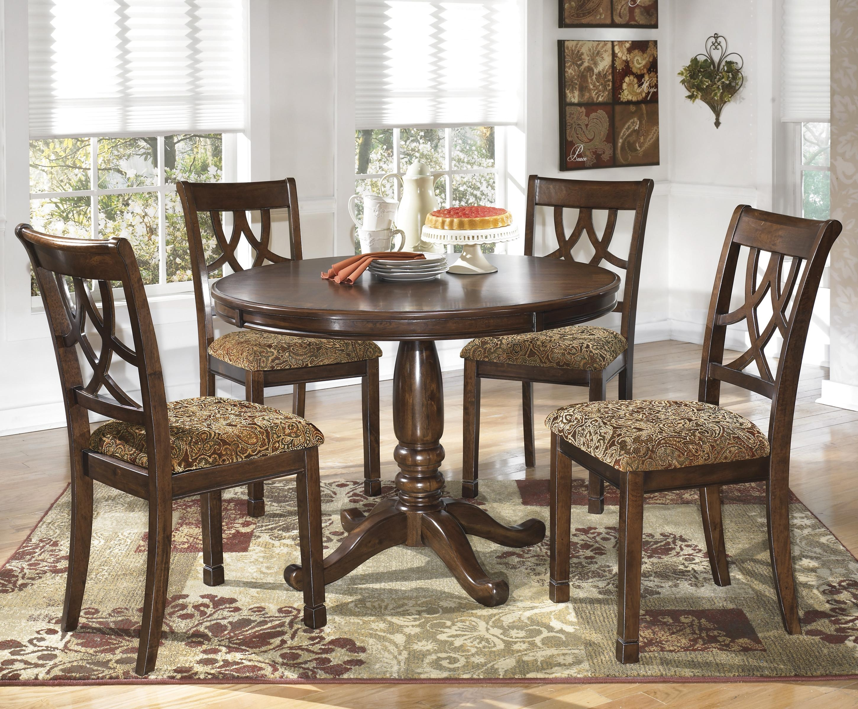 lila 5 piece cherry finish round dining table set rotmans dining
