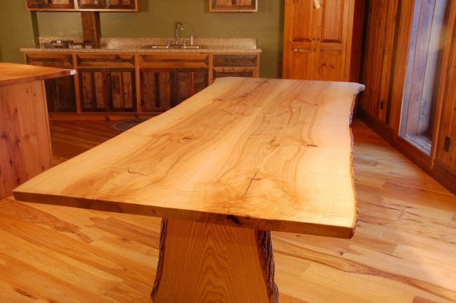 live edge ash slab dining table