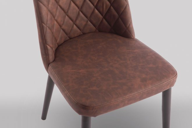 livia brown faux leather dining chair