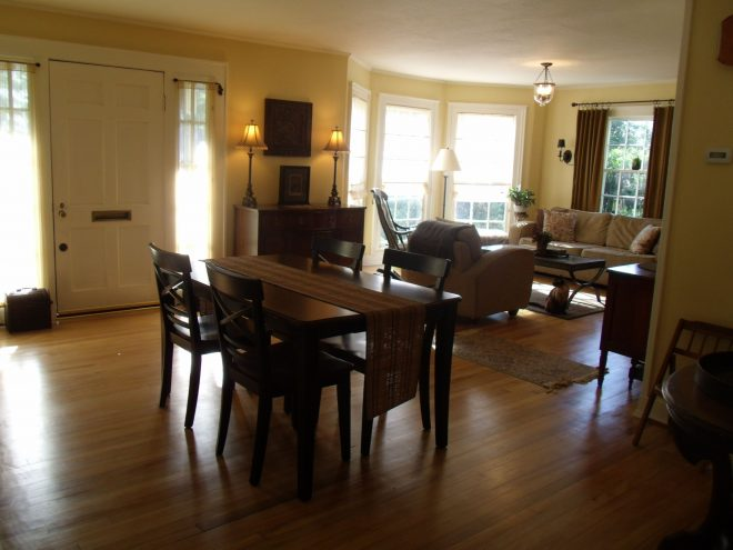 living room dining room combo with bay window dining