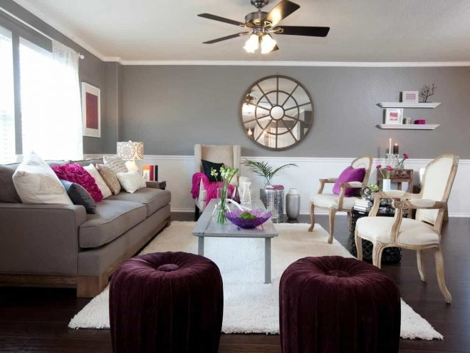 living room with grey wall colors and purple accents colors that