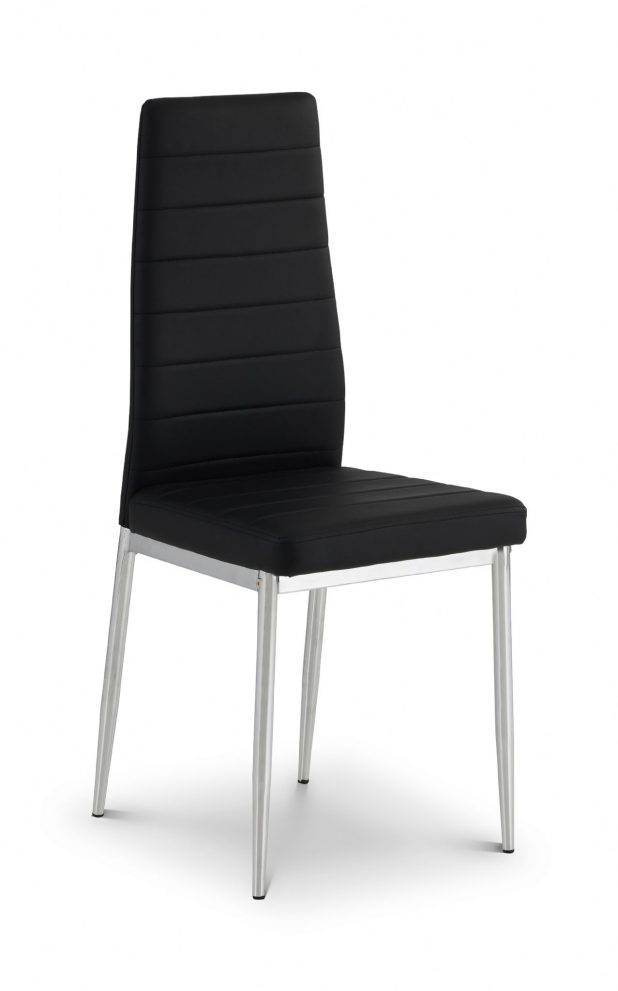 livorno chrome and black faux leather dining chair jb220