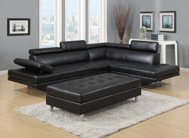 logan collection 3 piece sectional sofa set wbonded leather left facing style in black colour