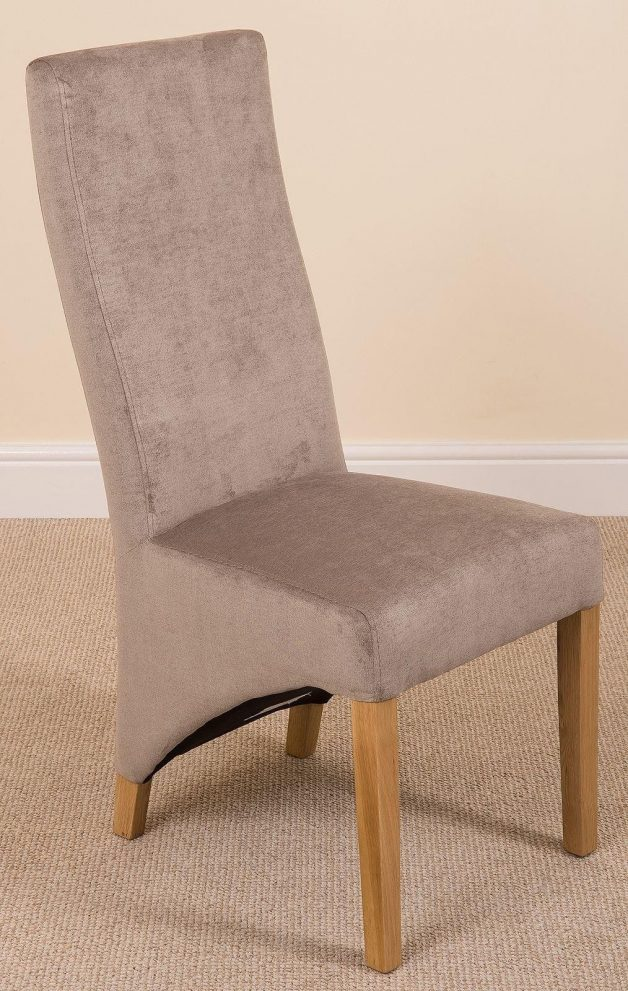 lola curved back dining chair grey fabric combined with