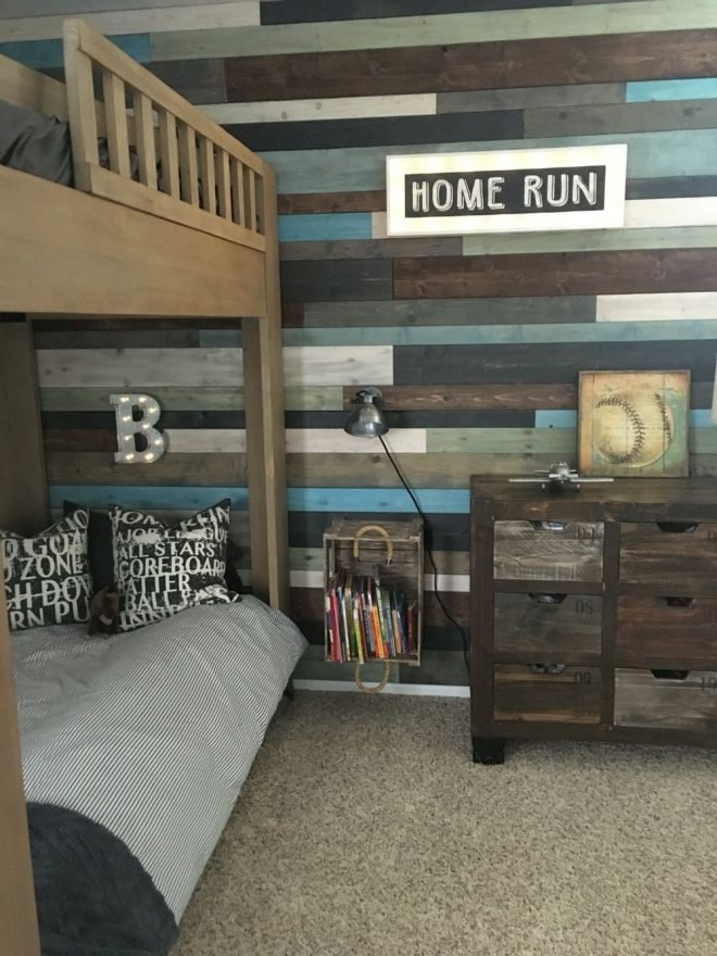 love the wood planked wall and vintage sports themed boys