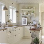 love this entire kitchen farm house sink open shelving white
